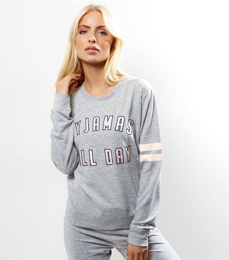 Tall Grey Pyjamas All Day Pyjama Sweater | New Look