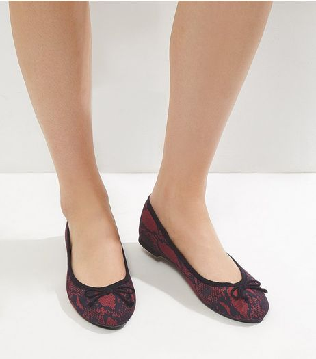 Red Snakeskin Print Ballet Pumps | New Look