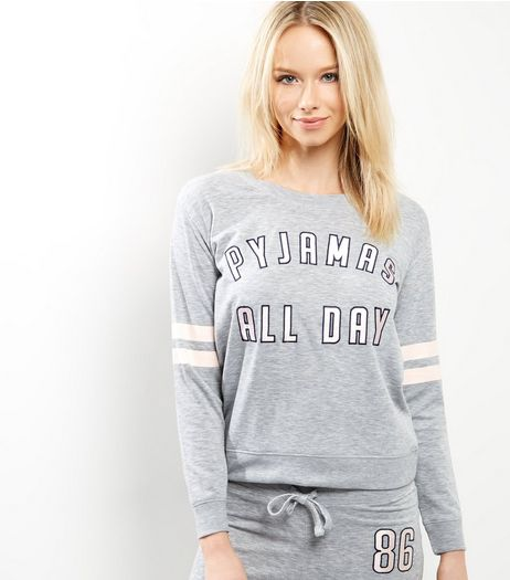 Petite Grey Pyjamas All Day Pyjama Sweater  | New Look