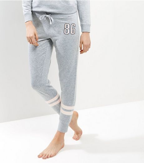 Petite Grey Contrast Stripe Pyjama Joggers | New Look