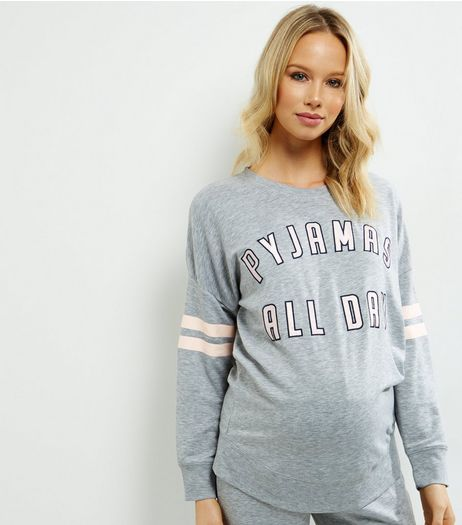 Maternity Grey Pyjamas All Day Pyjama Sweater | New Look