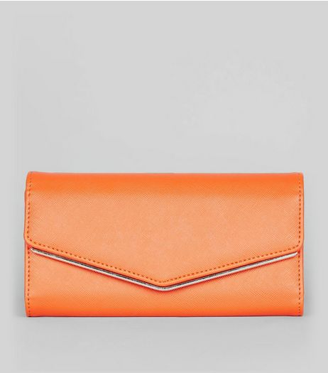 Orange Fold Over Clutch | New Look