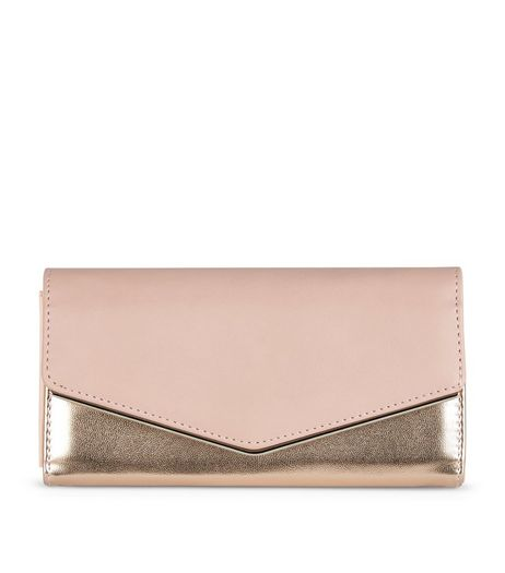 Rose Gold Fold Over Clutch | New Look