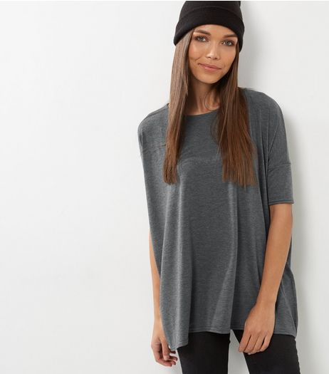 Dark Grey Oversized T-Shirt | New Look