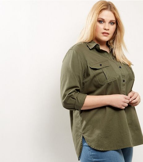Curves Khaki Cotton Shacket | New Look