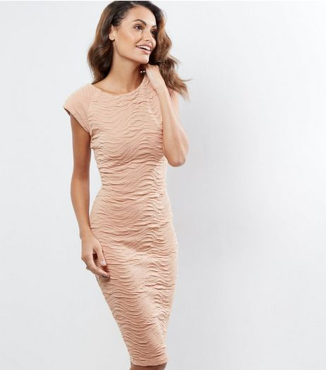 AX Paris Shell Pink Textured Bodycon Dress | New Look