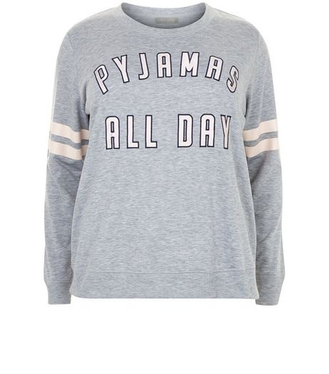 Curves Grey Pyjamas All Day Pyjama Sweater | New Look