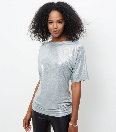 Cameo Rose Silver Metallic Ruched Side Top | New Look