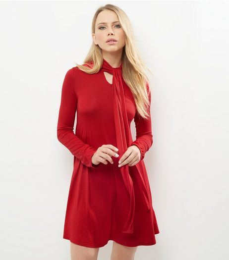 Red Tie Neck Long Sleeve Tunic Dress | New Look