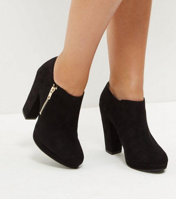 Black Suedette Zip Side Shoe Boots