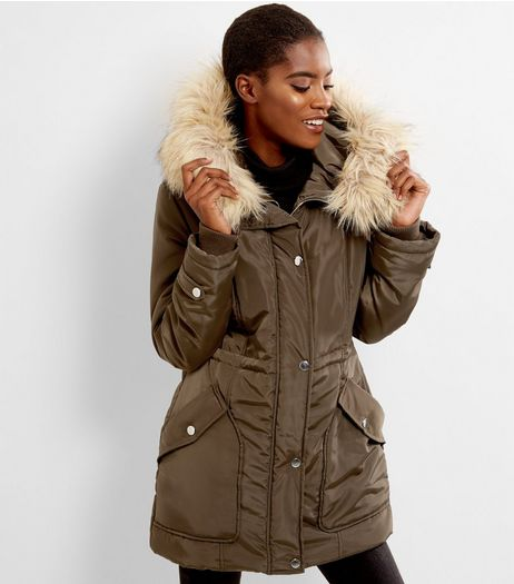 Anita and Green Khaki Faux Fur Trim Parka | New Look