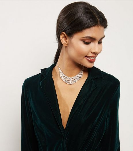 Silver Diamante Bib Necklace | New Look