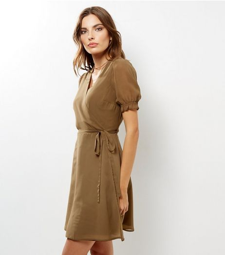 Khaki Chiffon Sheer Sleeve Wrap Front Dress | New Look