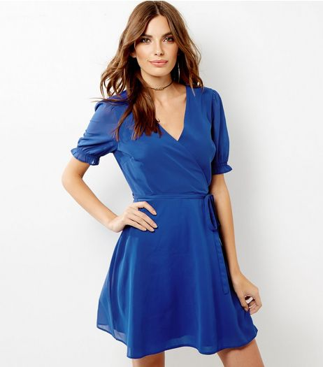 Blue Chiffon Sheer Sleeve Wrap Front Dress | New Look
