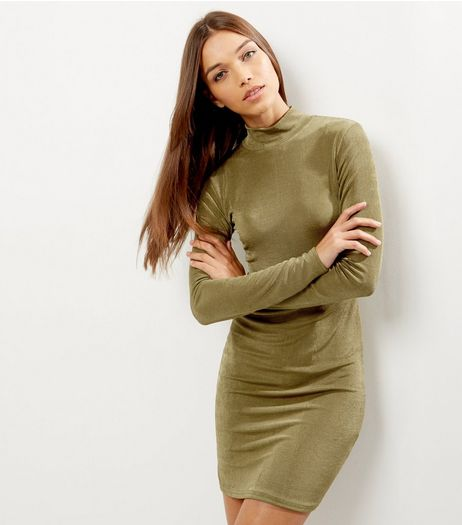 Khaki Funnel Neck Boydcon Dress | New Look