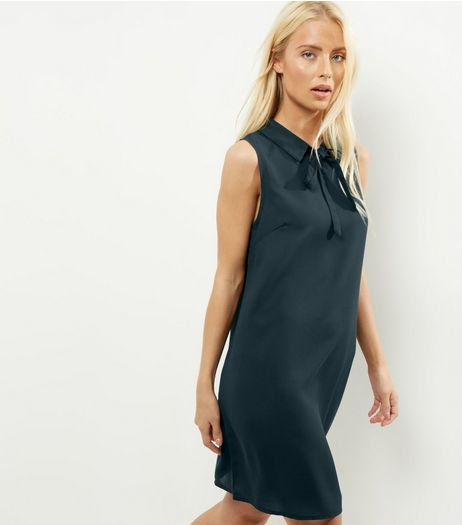 Dark Green Tie Neck Sleeveless Swing Dress | New Look