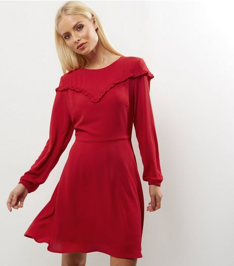 Red Frill Trim Long Sleeve Skater Dress | New Look
