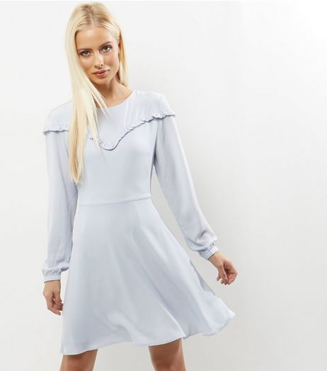 Silver Frill Trim Long Sleeve Skater Dress | New Look
