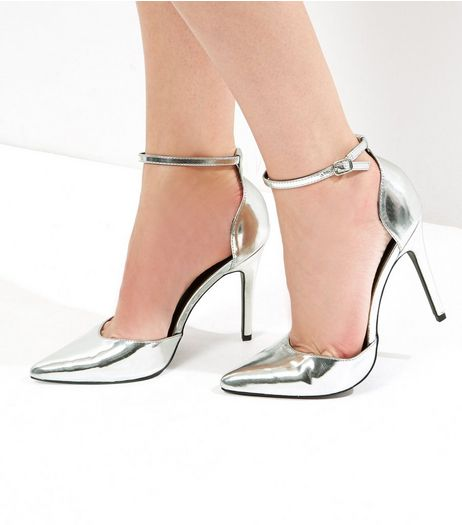 Silver Ankle Strap Pointed Heels | New Look