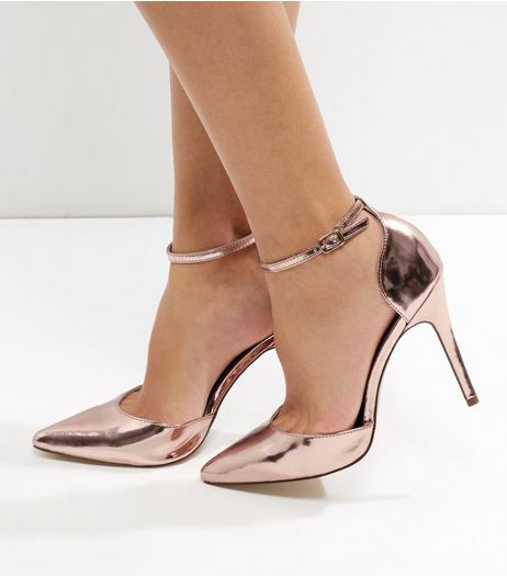 Rose Gold Ankle Strap Pointed Heels | New Look