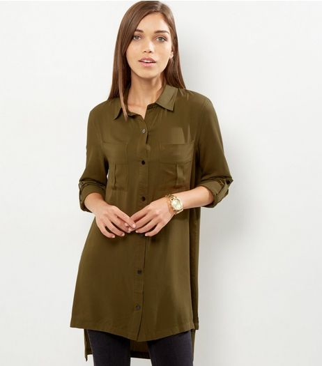 Parisian Khaki Double Pocket Front Shirt Dress | New Look