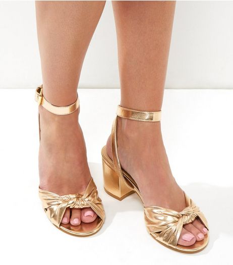 Gold Metallic Knot Front Block Heels | New Look