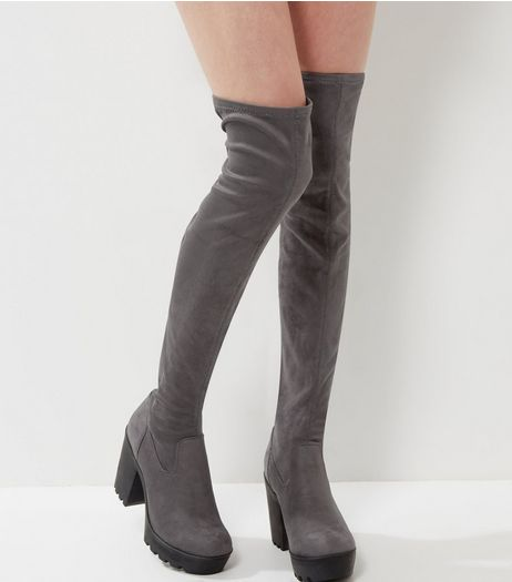 Grey Suedette Over The Knee Block Heel Boots | New Look