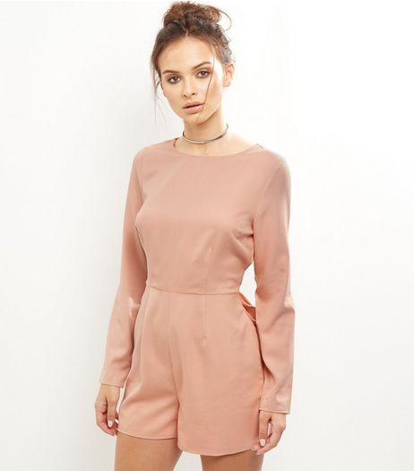 Shell Pink Tie Waist Playsuit | New Look