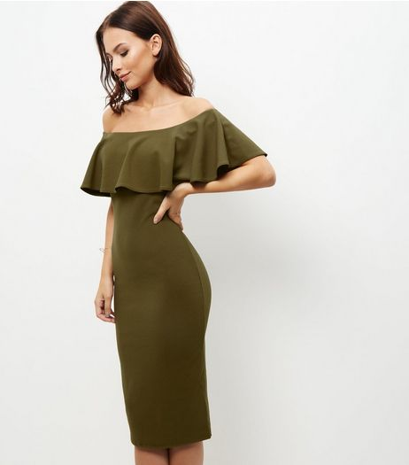 Khaki Frill Trim Bardot Neck Bodycon Dress | New Look