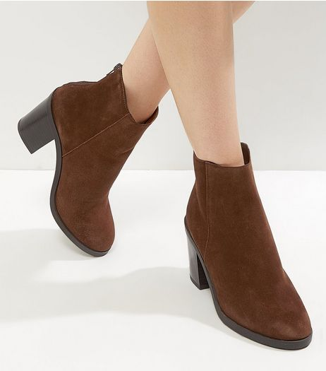 Tan Suede Block Heel Ankle Boots | New Look