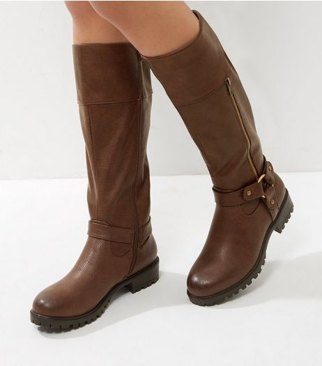 Tan Knee High Ring Strap Boots | New Look