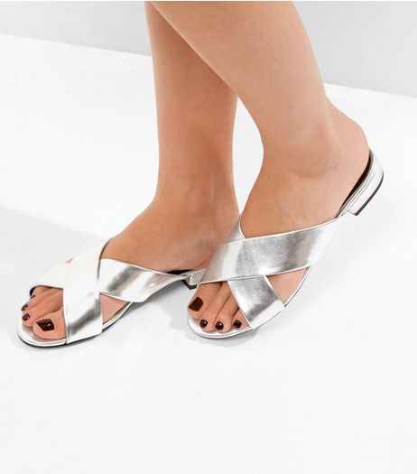 Silver Metallic Cross Strap Mules | New Look