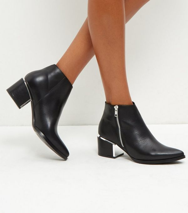 Black Metal Trim Leather Ankle Boots