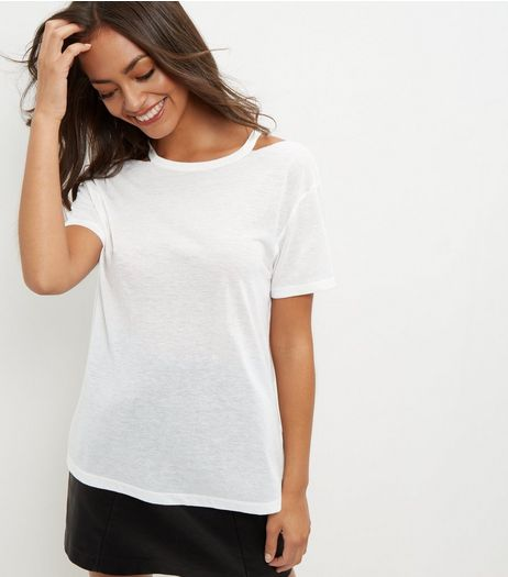 White Ripped Neck T-Shirt | New Look