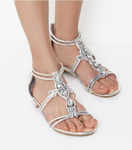 Silver Metallic Gem Stone Knot Front Sandals | New Look