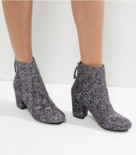 Silver Glitter Block Heel Ankle Boots | New Look