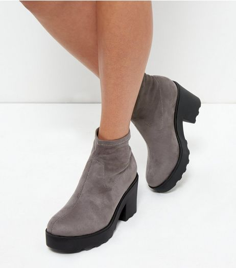 Grey Suedette Platform High Ankle Boots | New Look