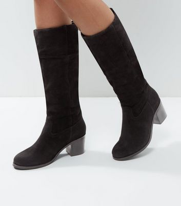 Photo of Black suede knee high block heel boots