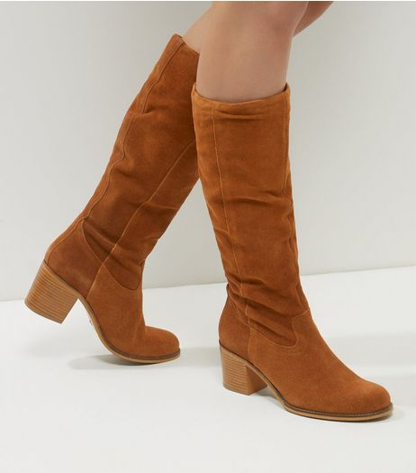 Tan Suede Knee High Block Heel Boots | New Look
