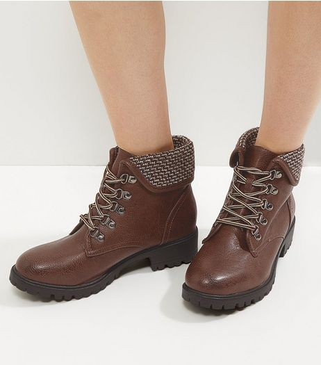Brown Knitted Cuff Lace Up Boots | New Look
