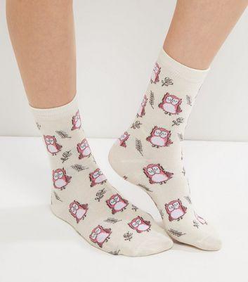 Cream Owl Print Socks