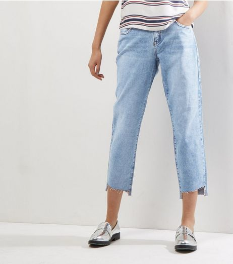 Blue Step Hem Boyfriend Jeans | New Look