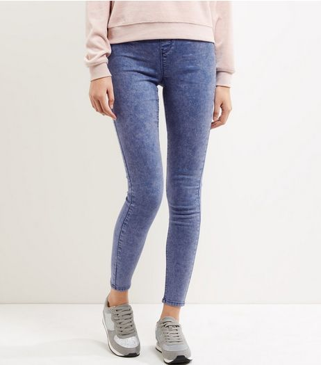 Blue Acid Washed Leggings  | New Look