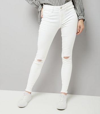 White Ripped Knee Fray Hem Skinny Jenna Jeans