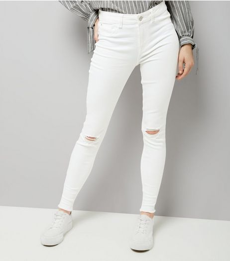 White Ripped Knee Fray Hem Skinny Jeans  | New Look