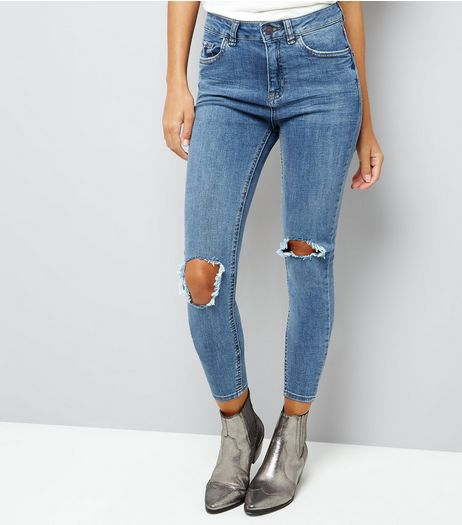Blue Ripped Knee Skinny Jenna Jeans  | New Look