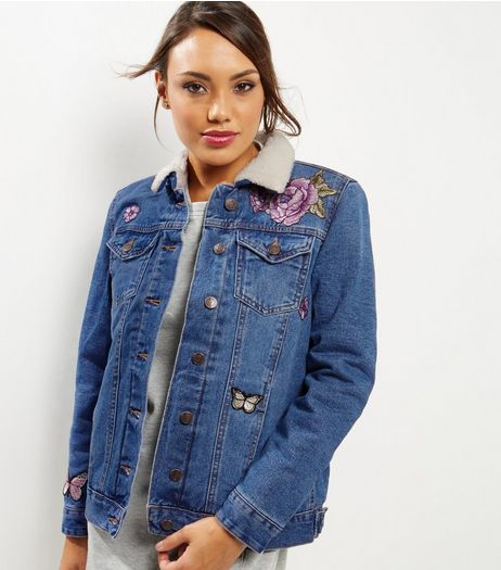 Blue Denim Floral Embroidered Borg Trim Jacket | New Look