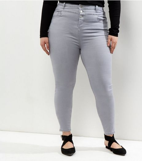Curves Pale Grey Tripple Button High Waist Skinny Jeans | New Look