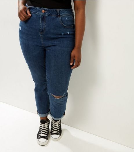 Curves Blue Ripped Mom Jeans | New Look