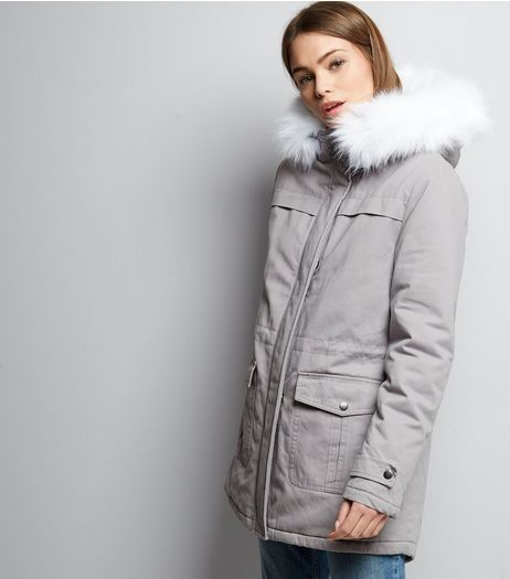 Pale Grey Faux Fur Trim Drawstring Waist Parka  | New Look